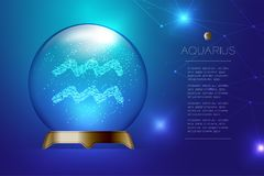 Aquarius Zodiac sign in Magic glass ball, Fortune teller concept design illustration. On blue gradient background with copy space, vector eps 10 Royalty Free Stock Image
