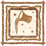 Aquarius Zodiac Sign on Native Tribal Leather Frame. Aquarius Zodiac Sign on Native Tribal and Grunge Leather Frame. Original Vector Graphic Art Copyright Stock Image