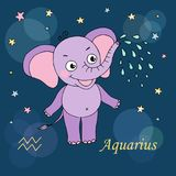 Aquarius zodiac sign on night sky background with stars Royalty Free Stock Photos