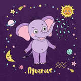 Aquarius zodiac sign on night sky background with stars Stock Photo