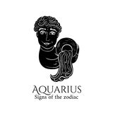 Aquarius zodiac. Signs of the zodiac. Aquarius hand draw. Black silhouette and white details. Vector illustration isolated on a white background Royalty Free Stock Photography