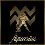 Aquarius zodiac star sign. Background of aquarius sign for horoscope royalty free illustration