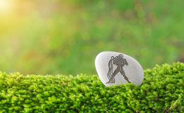 Aquarius zodiac symbol in stone. On grass with nature bokeh light background royalty free stock photo