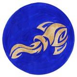 Aquarius Zodiac Symbol. Watercolor Illustration.The zodiac icon. Astrology.