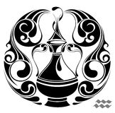 Aquarius zodiac vector sign.Tattoo design Stock Photography