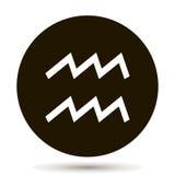Aquarius zodiaka znak Astrologiczna symbol ikona w okręgu Na bla Obraz Royalty Free