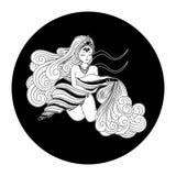 Aquarius zodiaka znak, horoskopu symbol, wektorowa ilustracja Obraz Stock