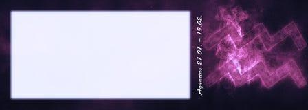 Aquarius zodiaka znak Aquarius horoskopu znak Szablonu teksta roo Fotografia Stock