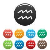 Aquarius zodiaka znaka ikona ustawiający wektor prosty Zdjęcie Stock