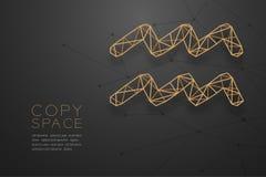 Aquarius zodiaka znaka wireframe wieloboka złota ramowa struktura, pomyślność narratora pojęcia projekta ilustracja ilustracja wektor