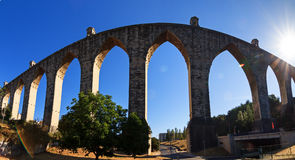 Aquas Livres Aquaduct. Beautiful wide angle panorama of the Aguas Livres Aqueduct in Lisbon, Portugal stock photo