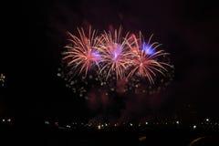 Aquatennial fajerwerki w Minneapolis obraz royalty free