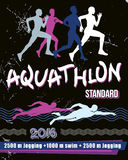 Aquathlon иллюстрации печати вектора - стандартное расстояние Стоковое Изображение RF