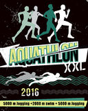 Aquathlon d'illustration de vecteur - de longue distance Photos libres de droits