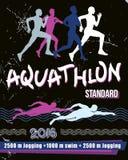 Aquathlon för vektortryckillustration - standart avstånd Royaltyfri Bild
