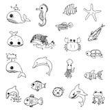 Aquatic animals drawn vector Stock Photography