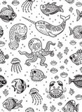 Aquatic animals seamless pattern for children coloring book. Vector illustration vector illustration