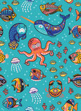 Aquatic animals seamless pattern. Vector illustration Stock Image