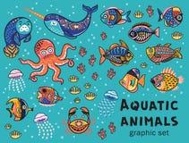 Free Aquatic Animals Vector Collection Stock Photos - 87712993