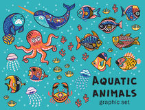 Aquatic animals vector collection Stock Photos