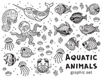 Aquatic animals vector graphic set stock illustration