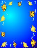 Aquatic Border. Exotic fish swimming around with air bubbles and a few seahorse, surrounding the outside Stock Photos