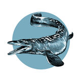 Aquatic dinosaur. With flippers sketch graphics vector black and white pattern on the background of blue circle Royalty Free Stock Images