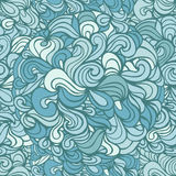 Aquatic doodle curves outline ornamental seamless pattern Royalty Free Stock Image