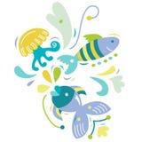 Aquatic Elements. Decorative design of aquatic creatures in contemporary style stock illustration