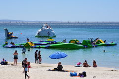 Water aquatic family fun playground summer activity. Large aquatic water playground in the ocean in summer for family children activity. Busselton Western Royalty Free Stock Photography
