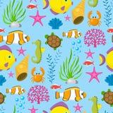 Aquatic funny sea animals underwater creatures cartoon characters shell aquarium sealife seamless pattern background. Aquatic funny sea animals underwater stock illustration