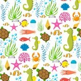 Aquatic funny sea animals underwater creatures cartoon characters shell aquarium sealife seamless pattern background. Aquatic funny sea animals underwater Royalty Free Stock Image