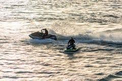 Aquatic motorcycle exhibition at the river duero in Porto, Portugal stock photo