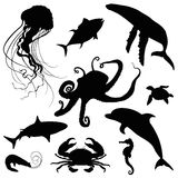 Aquatic ocean life silhouette set Royalty Free Stock Image