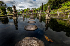 Aquatic pathway. Pathway at the aquatic palace of Tirta Gangaa in Bali stock photos