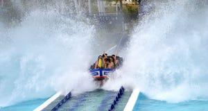 Aquatic roller coaster water splash royalty free stock photography