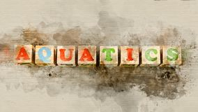 Aquatics ` λέξης ` που χτίζεται των ξύλινων φραγμών Στοκ Εικόνες