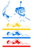 Aquatics. Sportsmen from water kinds of sports. A  illustration Stock Photography