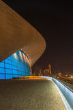 Aquatics Centre in Queen Elizabeth Olympic Park, London UK. LONDON - October 11th 2014. Night view of The Aquatics Centre in Queen Elizabeth Olympic Park. The Stock Photography