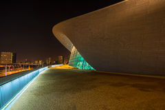 Aquatics Centre in Queen Elizabeth Olympic Park, London UK. LONDON - October 11th 2014. Night view of The Aquatics Centre in Queen Elizabeth Olympic Park. The Royalty Free Stock Images