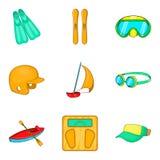 Aquatics icons set, cartoon style. Aquatics icons set. Cartoon set of 9 aquatics vector icons for web isolated on white background Royalty Free Stock Images