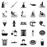 Aquatische geplaatste pictogrammen, eenvoudige stijl Stock Foto