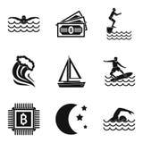 Aquatische geplaatste sportpictogrammen, eenvoudige stijl Royalty-vrije Stock Foto's