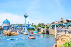 CHIBA, JAPAN: Aquatopia attraction in Port Discovery area in Tokyo Disneysea located in Urayasu, Chiba, Japan. Aquatopia attraction in Port Discovery area in stock photos