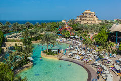 The Aquaventure waterpark of Atlantis. DUBAI, UAE - NOVEMBER 3: The Aquaventure waterpark of Atlantis the Palm hotel, located on man-made island Palm Jumeirah on Royalty Free Stock Photography