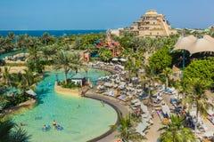 The Aquaventure waterpark of Atlantis. DUBAI, UAE - NOVEMBER 3: The Aquaventure waterpark of Atlantis the Palm hotel, located on man-made island Palm Jumeirah on Stock Images