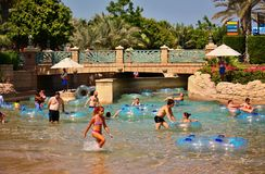 The Aquaventure waterpark of Atlantis the Palm hotel Stock Image