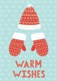 Aqueça o cartão do Natal dos desejos Fotos de Stock Royalty Free