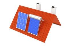 Aquecedor de água solar e painel solar instalados em Red Roof 3D r Fotos de Stock Royalty Free