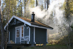 Aquecendo a sauna Fotografia de Stock